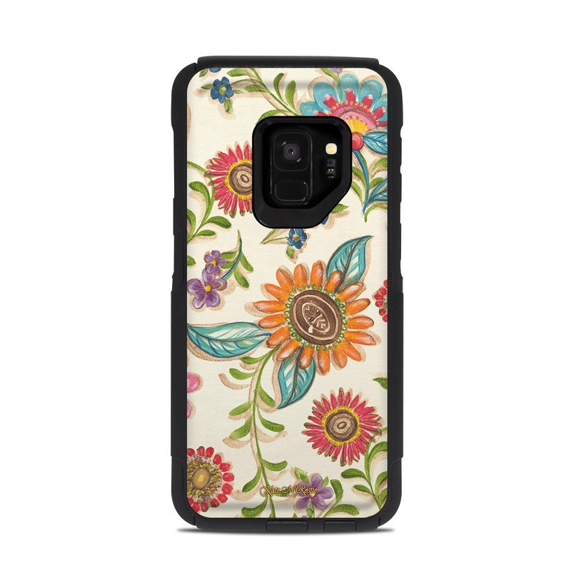 OtterBox Commuter Galaxy S9 Case Skin design of Pattern, Floral design, Flower, Botany, Design, Visual arts, Textile, Plant, Wildflower, Pedicel with gray, green, pink, yellow, red, blue colors