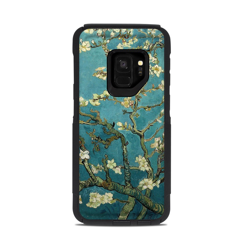 OtterBox Commuter Galaxy S9 Case Skin design of Tree, Branch, Plant, Flower, Blossom, Spring, Woody plant, Perennial plant with blue, black, gray, green colors