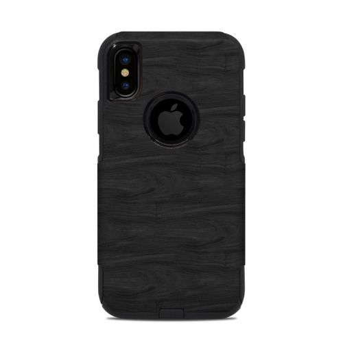 Black Woodgrain OtterBox Commuter iPhone XS Case Skin