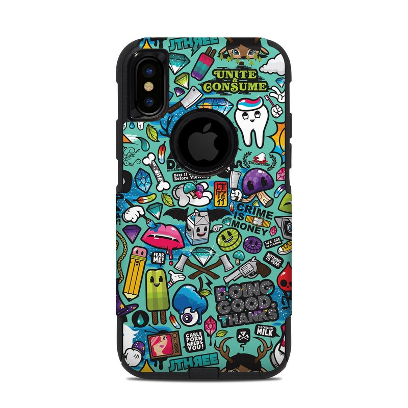 OtterBox Commuter iPhone XS Case Skin design of Cartoon, Art, Pattern, Design, Illustration, Visual arts, Doodle, Psychedelic art with black, blue, gray, red, green colors