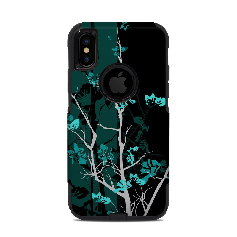 OtterBox Commuter iPhone XS Case Skin design of Branch, Black, Blue, Green, Turquoise, Teal, Tree, Plant, Graphic design, Twig with black, blue, gray colors