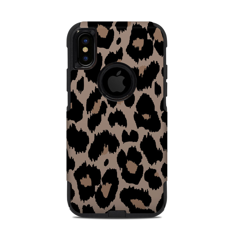 OtterBox Commuter iPhone XS Case Skin design of Pattern, Brown, Fur, Design, Textile, Monochrome, Fawn with black, gray, red, green colors