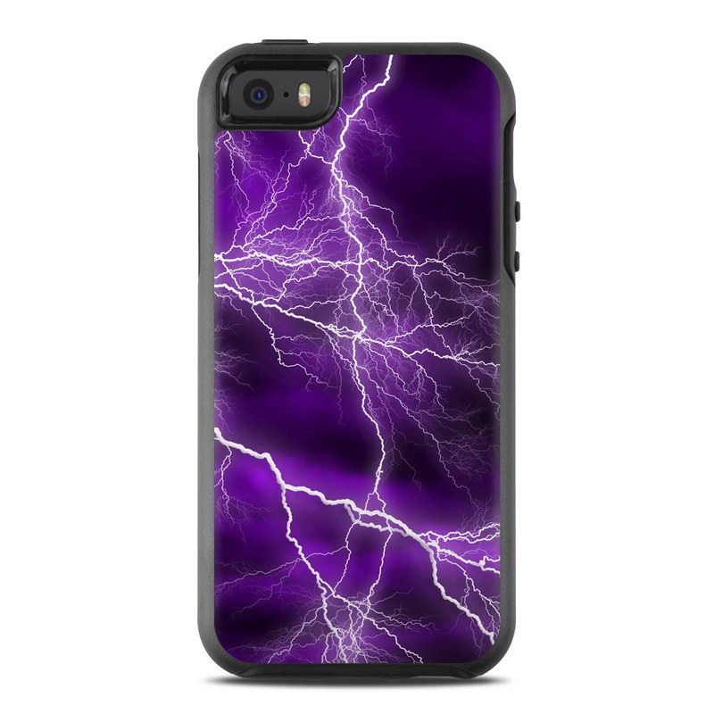 OtterBox Symmetry iPhone SE Case Skin design of Thunder, Lightning, Thunderstorm, Sky, Nature, Purple, Violet, Atmosphere, Storm, Electric blue with purple, black, white colors