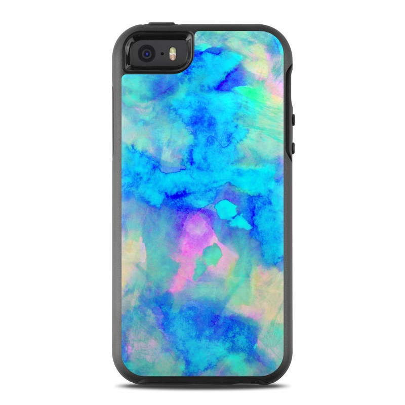 OtterBox Symmetry iPhone SE Case Skin design of Blue, Turquoise, Aqua, Pattern, Dye, Design, Sky, Electric blue, Art, Watercolor paint with blue, purple colors