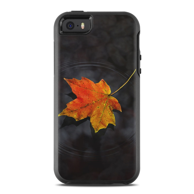 OtterBox Symmetry iPhone SE Case Skin design of Leaf, Maple leaf, Tree, Black maple, Sky, Yellow, Deciduous, Orange, Autumn, Red with black, red, green colors
