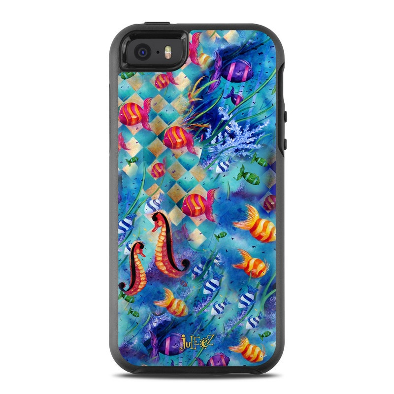 OtterBox Symmetry iPhone SE Case Skin design of Art, Psychedelic art, Organism, Graphic design, Font, Watercolor paint, Visual arts, Illustration, Modern art, Graphics with blue, gray, red, black, green colors