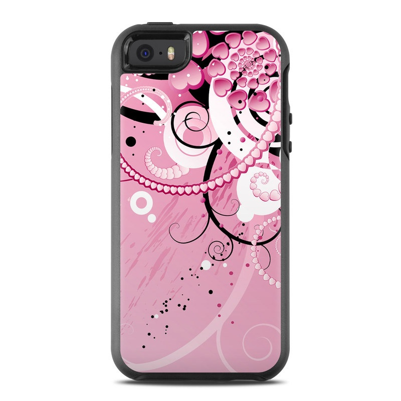 OtterBox Symmetry iPhone SE Case Skin design of Pink, Floral design, Graphic design, Text, Design, Flower Arranging, Pattern, Illustration, Flower, Floristry with pink, gray, black, white, purple, red colors