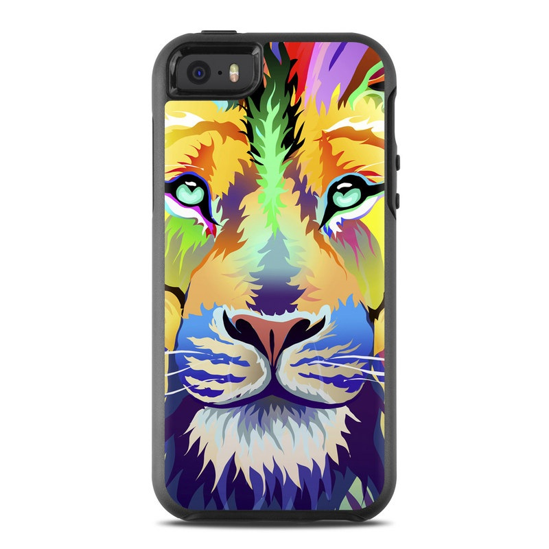 OtterBox Symmetry iPhone SE 1st Gen Case Skin design of Bengal tiger, Felidae, Lion, Wildlife, Big cats, Tiger, Carnivore, Art, Illustration, Painting with orange, yellow, green, red, pink, blue, purple colors