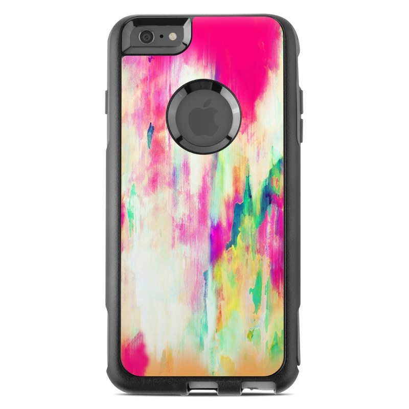 OtterBox Commuter iPhone 6s Plus Case Skin design of Pink, Magenta, Art, Watercolor paint, Dye, Visual arts, Pattern, Modern art, Painting, Acrylic paint with red, white, green colors