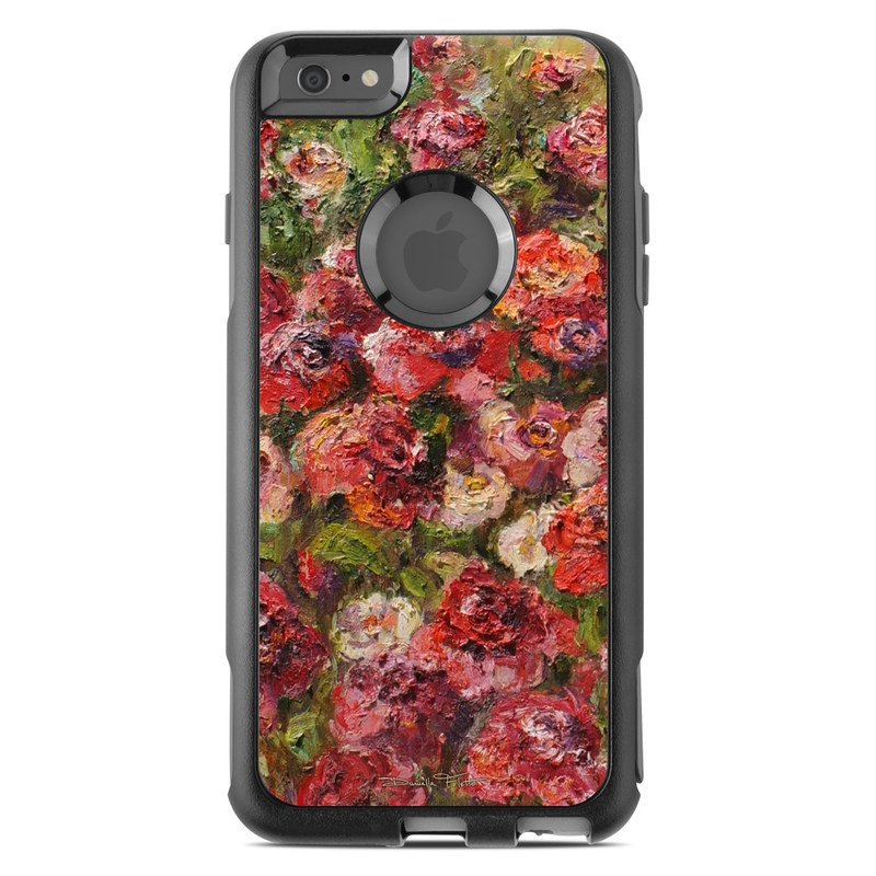 OtterBox Commuter iPhone 6s Plus Case Skin design of Flower, Garden roses, Rose, Plant, Floribunda, Flowering plant, Rosa × centifolia, Rose family, Botany, Petal with red, black, green, gray colors