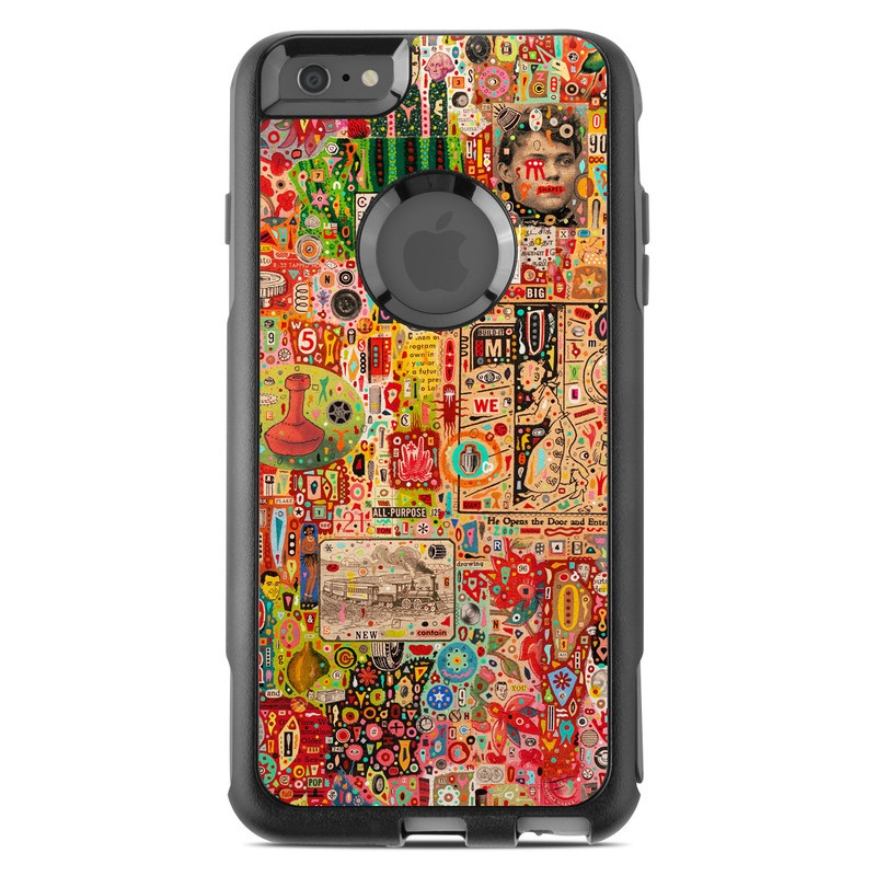 OtterBox Commuter iPhone 6s Plus Case Skin design of Art, Pattern, Textile, Visual arts, Collage, Illustration, Modern art with red, green, gray, black, pink, orange colors