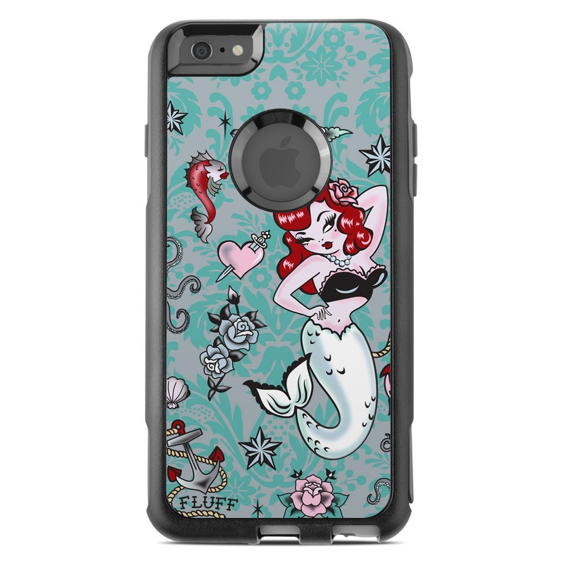 OtterBox Commuter iPhone 6s Plus Case Skin design of Mermaid, Illustration, Fictional character, Organism, Art, Pattern, Style with gray, blue, black, red, white, pink colors