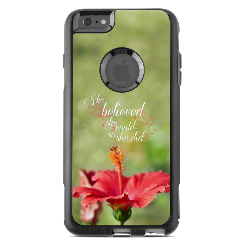 OtterBox Commuter iPhone 6s Plus Case Skin design of Flower, Plant, Morning, Hibiscus, Flowering plant, Petal, Font, Adaptation, Wildflower, Malvales with green, gray, black, red colors