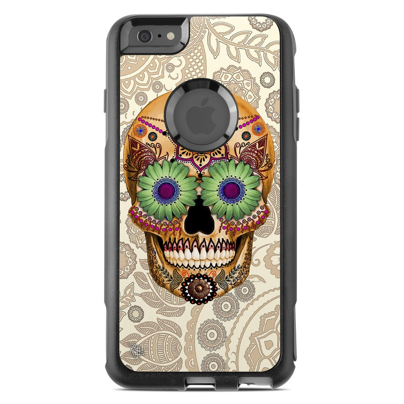 OtterBox Commuter iPhone 6s Plus Case Skin design of Skull, Bone, Pattern, Design, Illustration, Visual arts, Fashion accessory, Art with gray, yellow, green, black, red, pink colors
