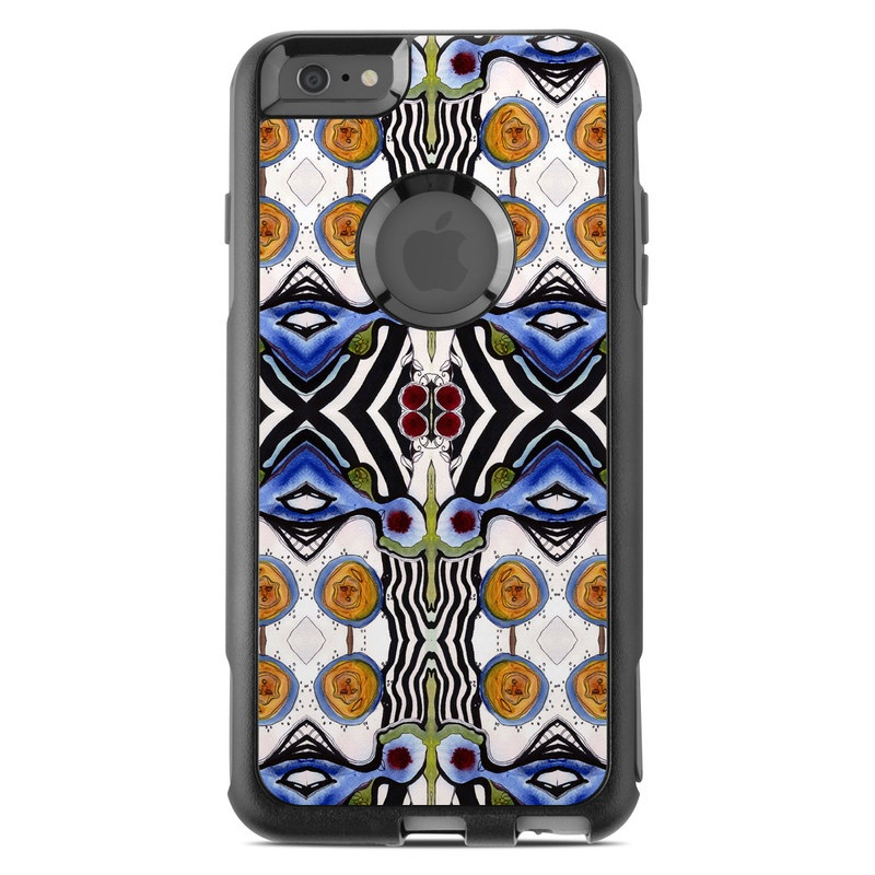 OtterBox Commuter iPhone 6s Plus Case Skin design of Pattern, Line, Design, Symmetry, Textile, Glass, Art, Visual arts, Stained glass with black, gray, green, blue, white, red colors