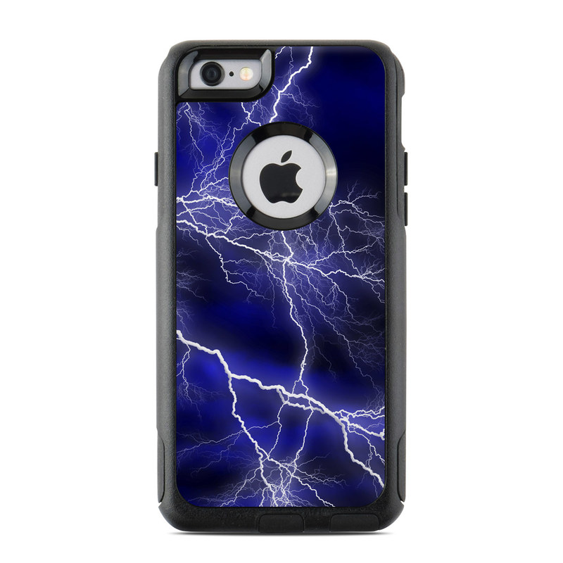 OtterBox Commuter iPhone 6s Case Skin design of Thunder, Lightning, Thunderstorm, Sky, Nature, Electric blue, Atmosphere, Daytime, Blue, Atmospheric phenomenon with blue, black, white colors