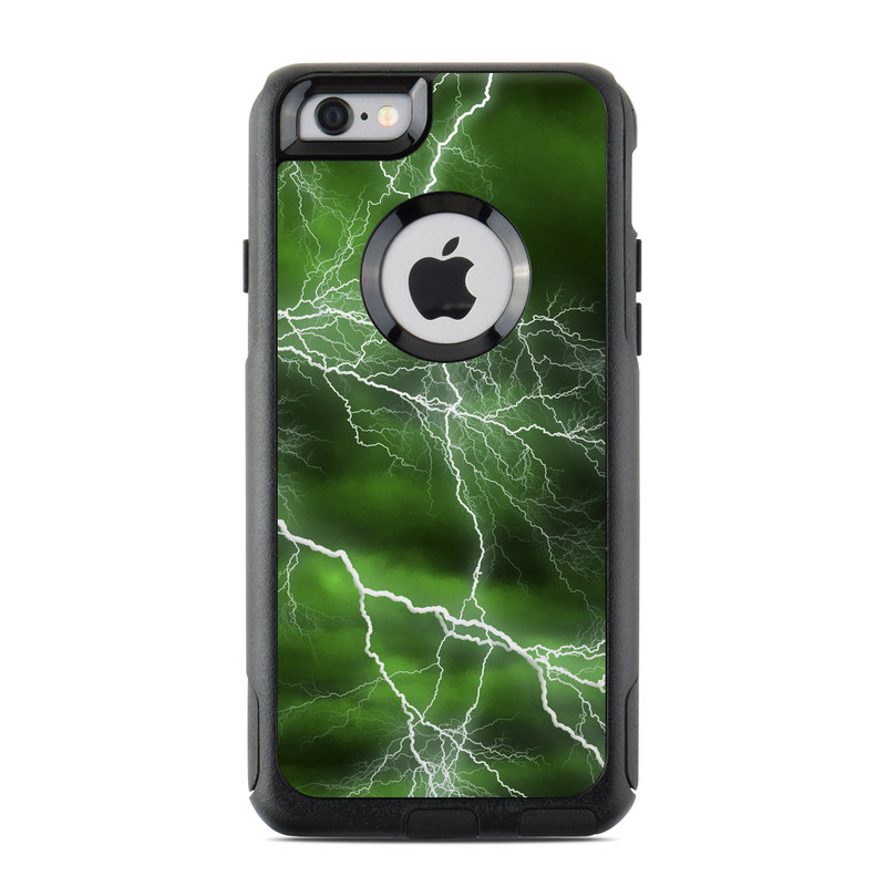 OtterBox Commuter iPhone 6s Case Skin design of Thunderstorm, Thunder, Lightning, Nature, Green, Water, Sky, Atmosphere, Atmospheric phenomenon, Daytime with green, black, white colors