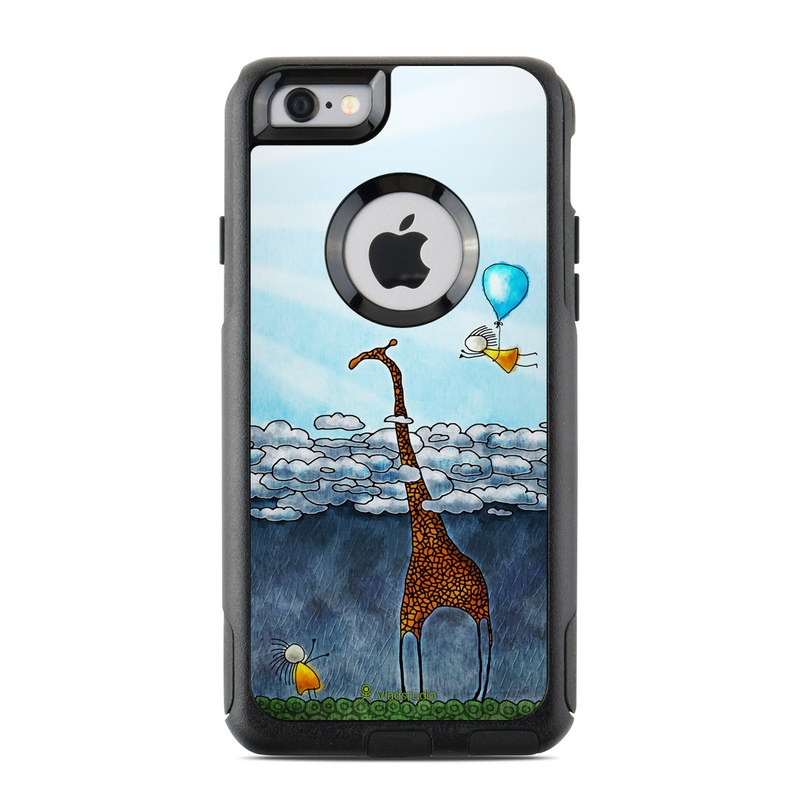 OtterBox Commuter iPhone 6s Case Skin design of Giraffe, Sky, Tree, Water, Branch, Giraffidae, Illustration, Cloud, Grassland, Bird with blue, gray, yellow, green colors