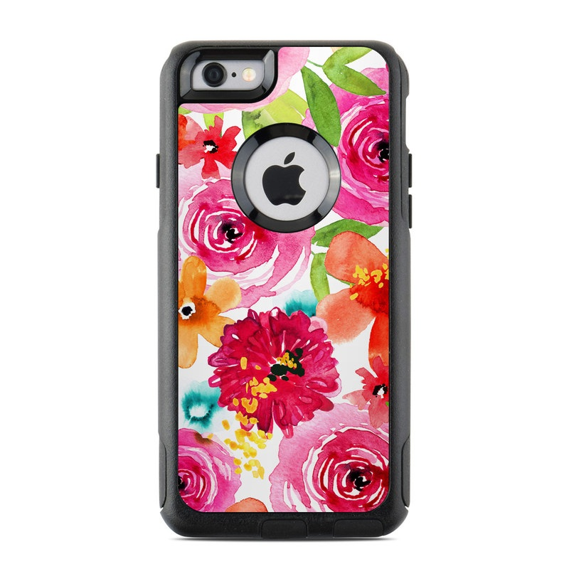 OtterBox Commuter iPhone 6s Case Skin design of Flower, Cut flowers, Floral design, Plant, Pink, Bouquet, Petal, Flower Arranging, Artificial flower, Clip art with pink, red, green, orange, yellow, blue, white colors