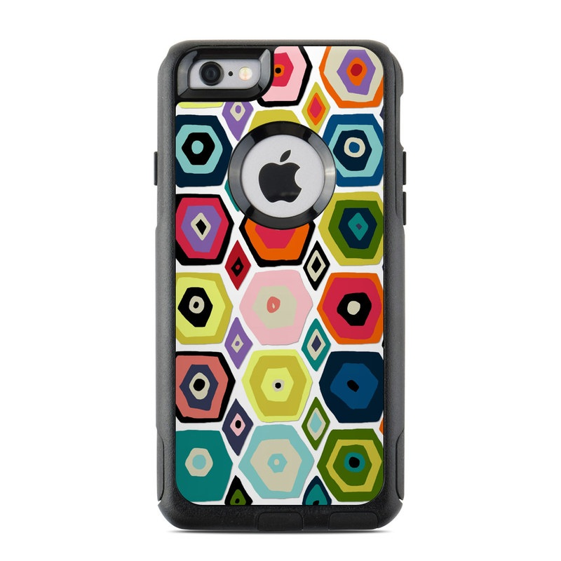 OtterBox Commuter iPhone 6s Case Skin design of Pattern, Line, Design, Textile, Visual arts, Circle, Square, Symmetry, Wrapping paper with gray, black, red, green, white colors