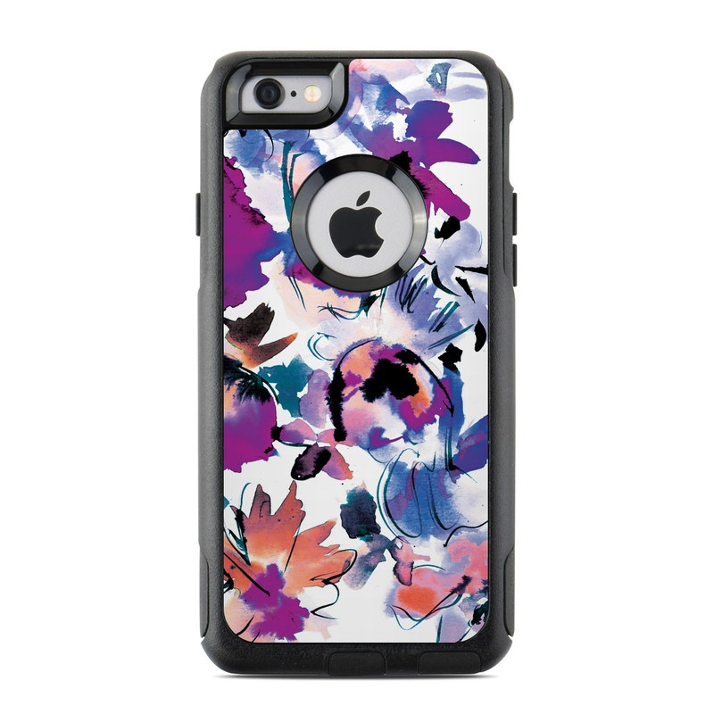 OtterBox Commuter iPhone 6s Case Skin design of Product, Purple, Illustration, Graphic design, Plant, Clip art, Flower, Graphics, Wildflower, Watercolor paint with white, purple, pink, yellow, blue, black colors