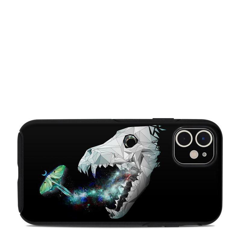 OtterBox Symmetry iPhone 11 Case Skin design of Illustration, Jaw, Animation, Graphic design, Fictional character, Space, Cg artwork, Graphics, Anglerfish, Art with black, white, green, blue, gray colors