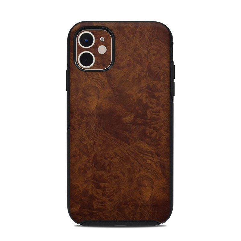 OtterBox Symmetry iPhone 11 Case Skin design of Brown, Wood, Wood flooring, Caramel color, Pattern, Hardwood, Wood stain, Flooring, Floor, Plywood with brown colors