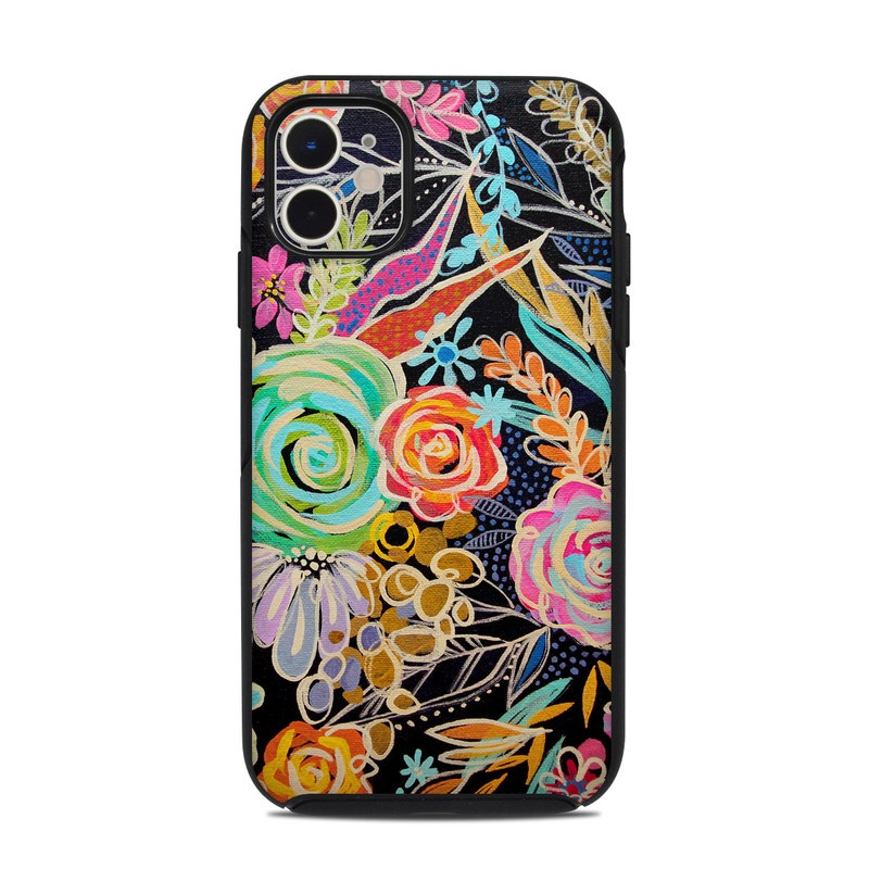 OtterBox Symmetry iPhone 11 Case Skin design of Pattern, Floral design, Design, Textile, Visual arts, Art, Graphic design, Psychedelic art, Plant with black, gray, green, red, blue colors