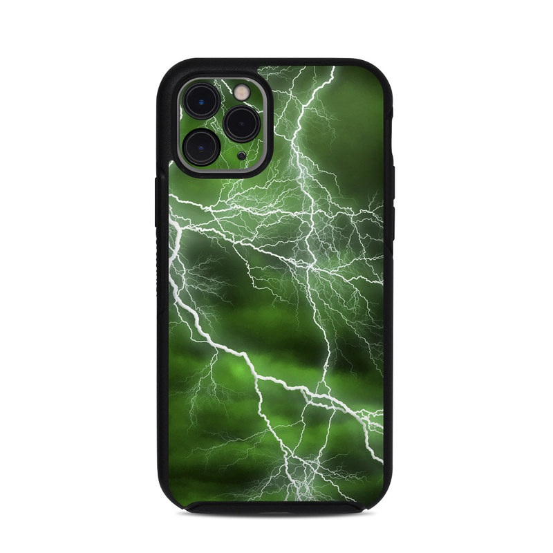 OtterBox Symmetry iPhone 11 Pro Case Skin design of Thunderstorm, Thunder, Lightning, Nature, Green, Water, Sky, Atmosphere, Atmospheric phenomenon, Daytime with green, black, white colors