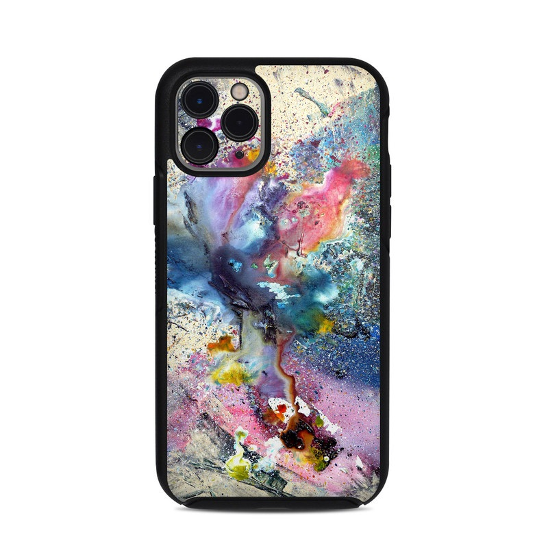 OtterBox Symmetry iPhone 11 Pro Case Skin design of Watercolor paint, Painting, Acrylic paint, Art, Modern art, Paint, Visual arts, Space, Colorfulness, Illustration with gray, black, blue, red, pink colors