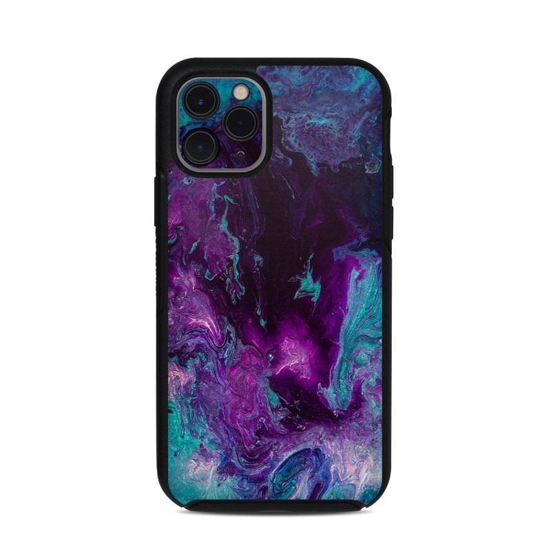 OtterBox Symmetry iPhone 11 Pro Case Skin design of Blue, Purple, Violet, Water, Turquoise, Aqua, Pink, Magenta, Teal, Electric blue with blue, purple, black colors