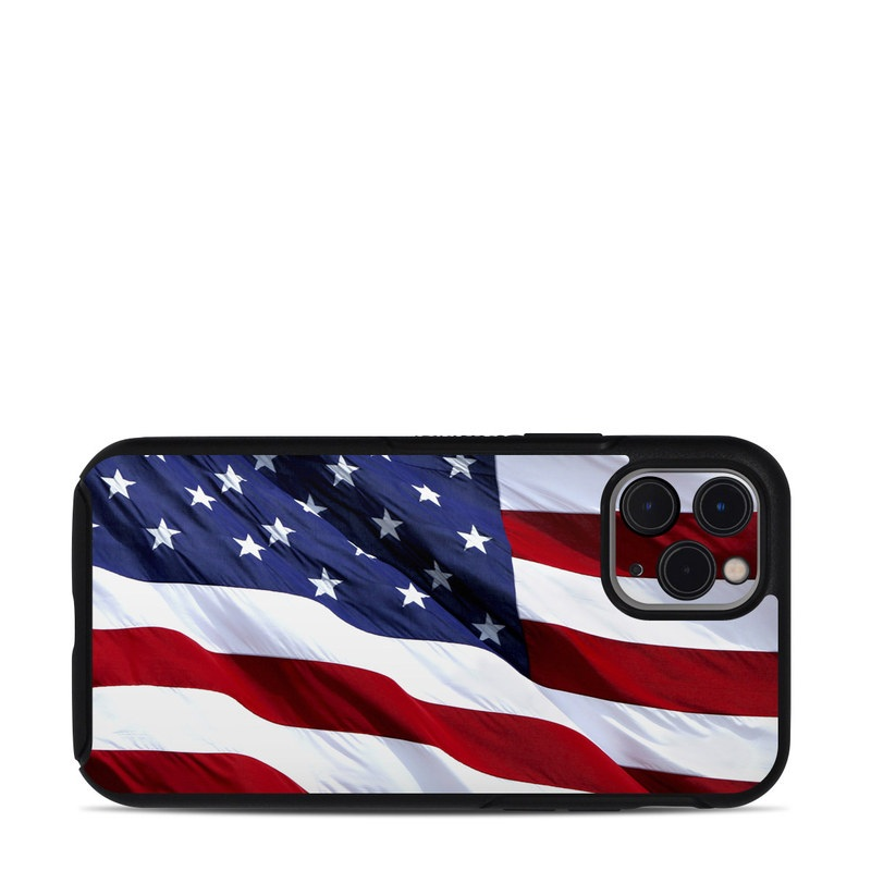 OtterBox Symmetry iPhone 11 Pro Case Skin design of Flag, Flag of the united states, Flag Day (USA), Veterans day, Memorial day, Holiday, Independence day, Event with red, blue, white colors