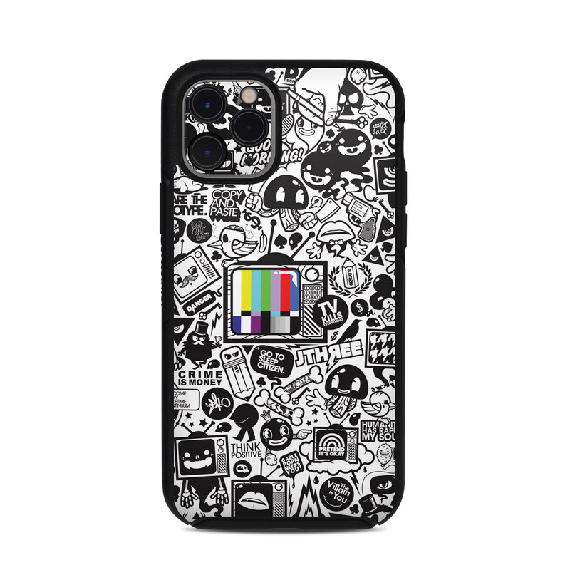 OtterBox Symmetry iPhone 11 Pro Case Skin design of Pattern, Drawing, Doodle, Design, Visual arts, Font, Black-and-white, Monochrome, Illustration, Art with gray, black, white colors