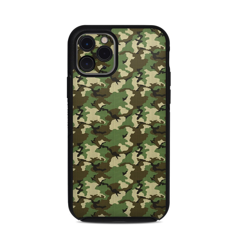 OtterBox Symmetry iPhone 11 Pro Case Skin design of Military camouflage, Camouflage, Clothing, Pattern, Green, Uniform, Military uniform, Design, Sportswear, Plane with black, gray, green colors