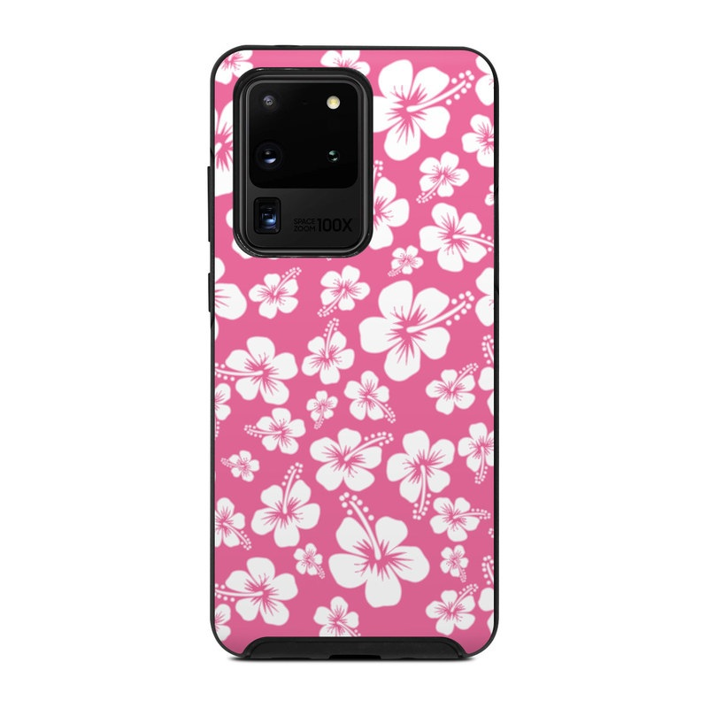 OtterBox Symmetry Galaxy S20 Ultra Case Skin design of Pink, Pattern, Flower, Petal, Plant, Design, Floral design, Pedicel, Cherry blossom, Blossom with pink, white colors