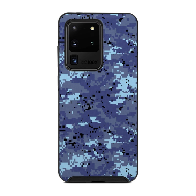 OtterBox Symmetry Galaxy S20 Ultra Case Skin design of Blue, Purple, Pattern, Lavender, Violet, Design with blue, gray, black colors