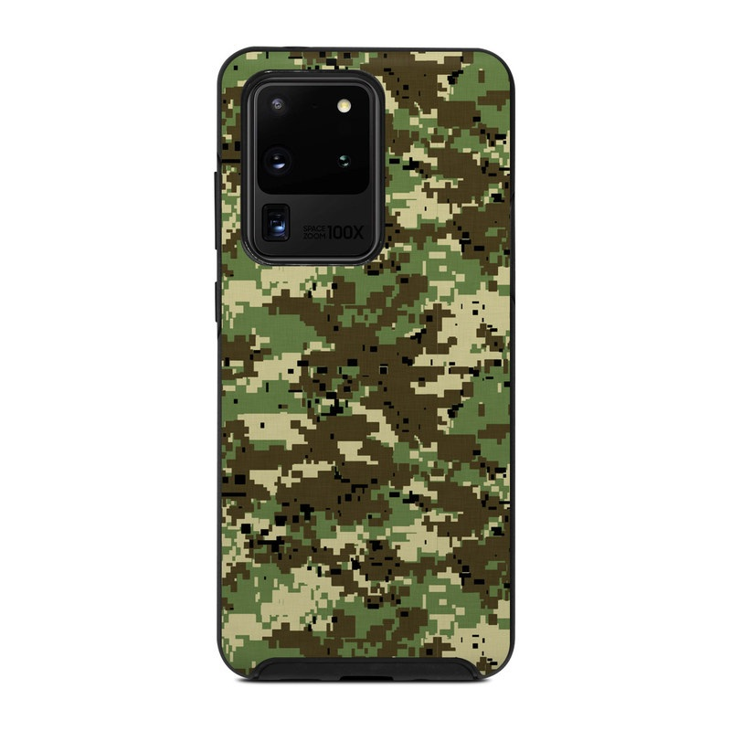 OtterBox Symmetry Galaxy S20 Ultra Case Skin design of Military camouflage, Pattern, Camouflage, Green, Uniform, Clothing, Design, Military uniform with black, gray, green colors
