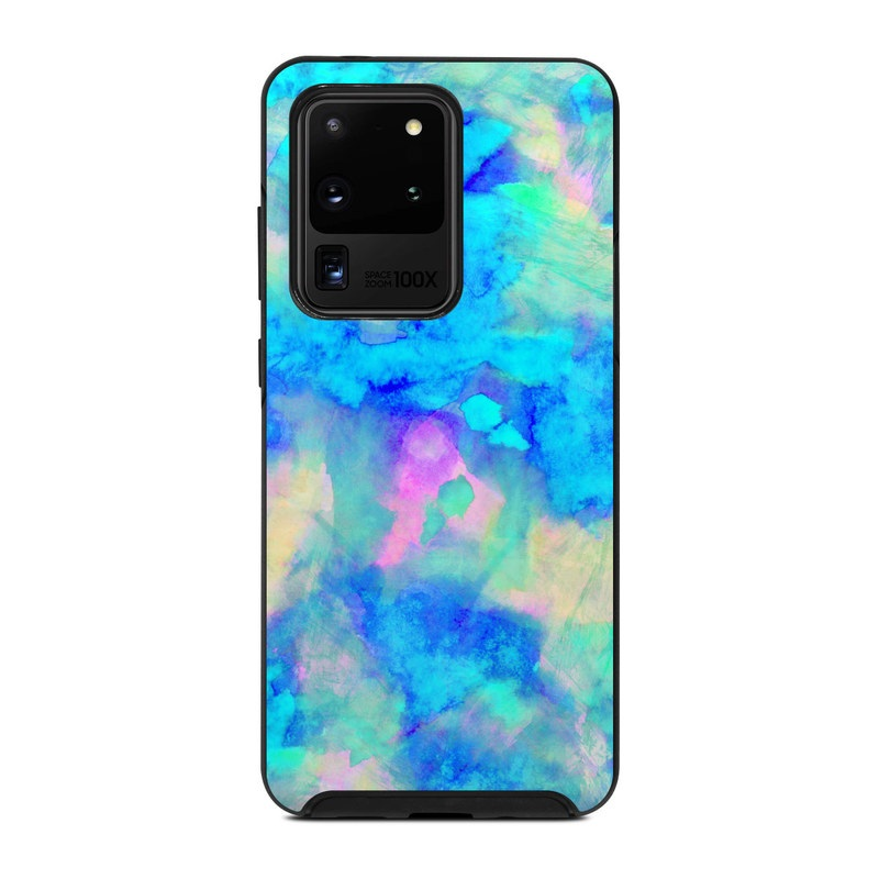 OtterBox Symmetry Galaxy S20 Ultra Case Skin design of Blue, Turquoise, Aqua, Pattern, Dye, Design, Sky, Electric blue, Art, Watercolor paint with blue, purple colors