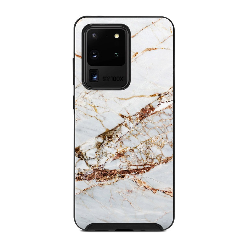OtterBox Symmetry Galaxy S20 Ultra Case Skin design of White, Branch, Twig, Beige, Marble, Plant, Tile with white, gray, yellow colors