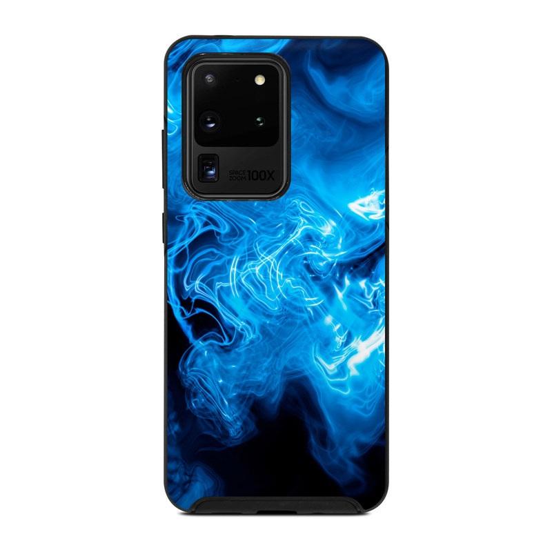 OtterBox Symmetry Galaxy S20 Ultra Case Skin design of Blue, Water, Electric blue, Organism, Pattern, Smoke, Liquid, Art with blue, black, purple colors