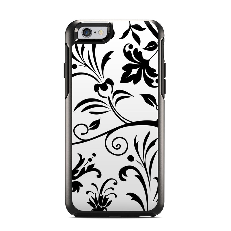OtterBox Symmetry iPhone 6s Case Skin design of Pattern, Floral design, Leaf, Black-and-white, Botany, Design, Branch, Visual arts, Ornament, Wallpaper with white, black colors