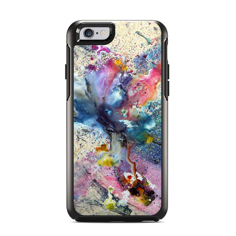 OtterBox Symmetry iPhone 6s Case Skin design of Watercolor paint, Painting, Acrylic paint, Art, Modern art, Paint, Visual arts, Space, Colorfulness, Illustration with gray, black, blue, red, pink colors