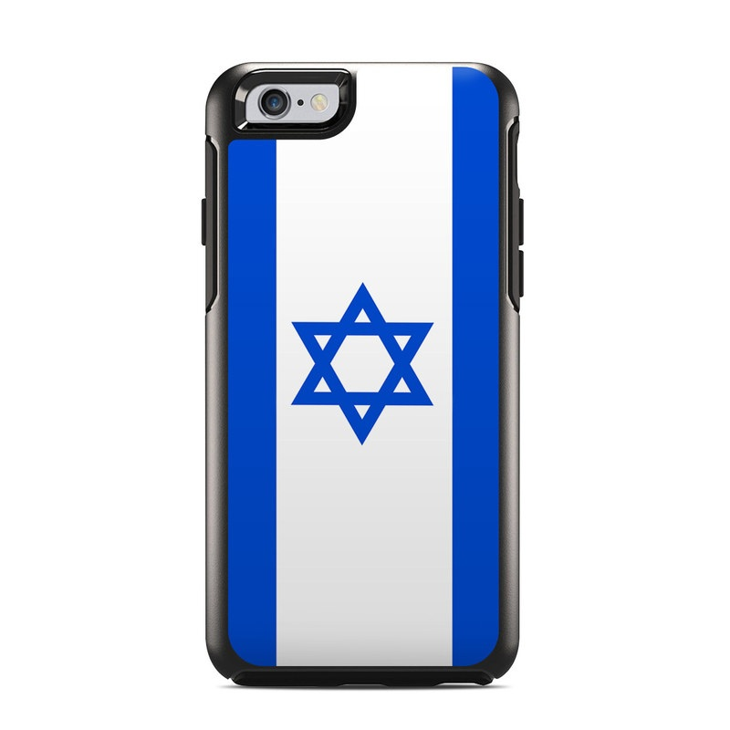 OtterBox Symmetry iPhone 6s Case Skin design of Blue, Cobalt blue, Electric blue, Text, Line, Font, Logo, Flag, Brand, Rectangle with white, blue, purple, gray colors