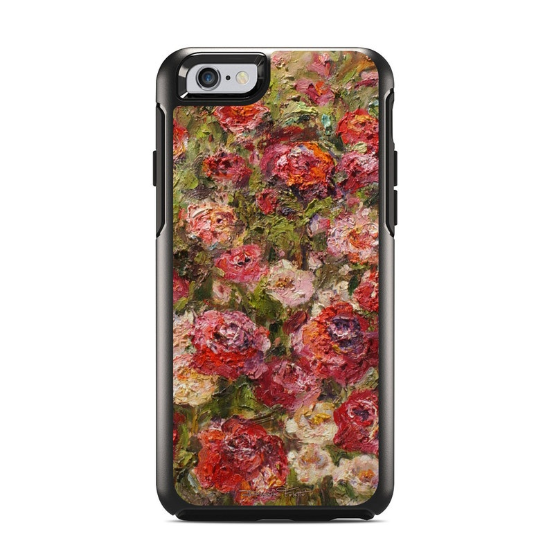 OtterBox Symmetry iPhone 6s Case Skin design of Flower, Garden roses, Rose, Plant, Floribunda, Flowering plant, Rosa × centifolia, Rose family, Botany, Petal with red, black, green, gray colors