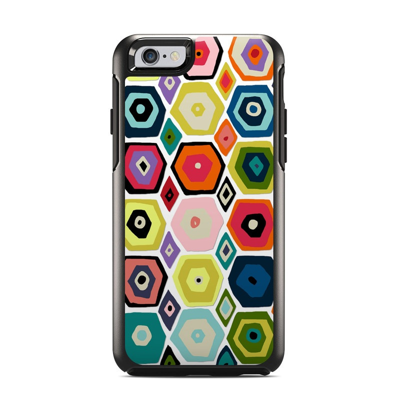 OtterBox Symmetry iPhone 6s Case Skin design of Pattern, Line, Design, Textile, Visual arts, Circle, Square, Symmetry, Wrapping paper with gray, black, red, green, white colors