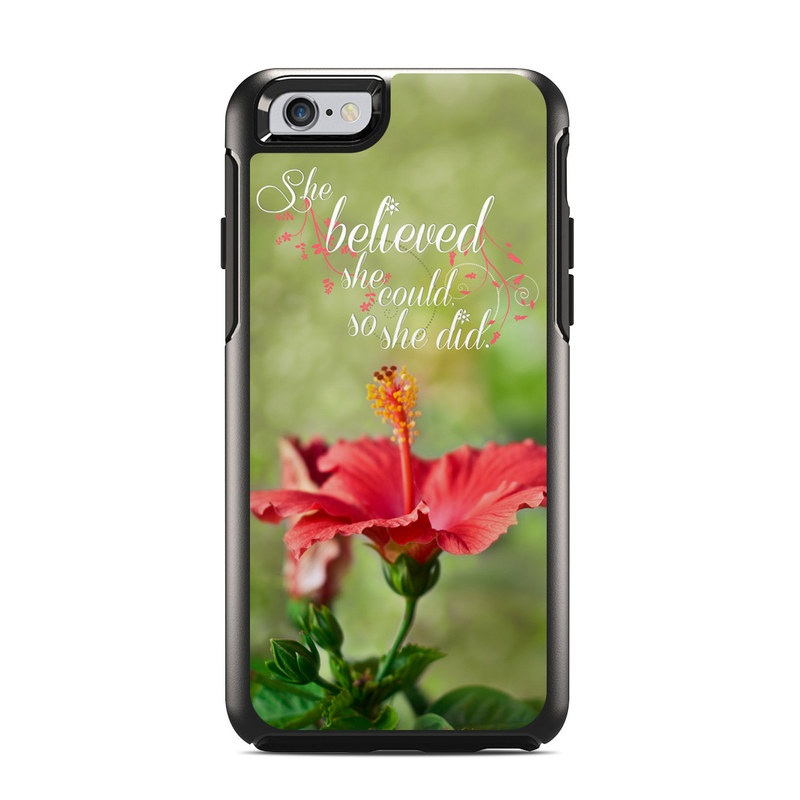 OtterBox Symmetry iPhone 6s Case Skin design of Flower, Plant, Morning, Hibiscus, Flowering plant, Petal, Font, Adaptation, Wildflower, Malvales with green, gray, black, red colors