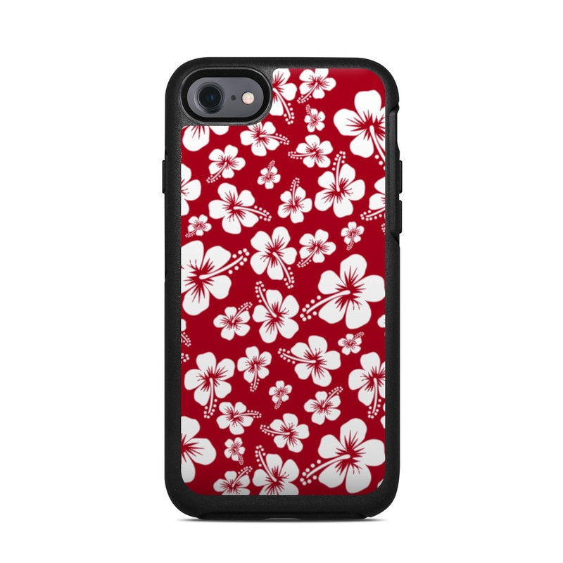 OtterBox Symmetry iPhone 8 Case Skin design of Pink, Pattern, Petal, Flower, Plant, Floral design, Design, Wildflower, Black-and-white, Hibiscus with red, white colors
