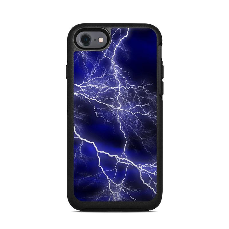 OtterBox Symmetry iPhone 8 Case Skin design of Thunder, Lightning, Thunderstorm, Sky, Nature, Electric blue, Atmosphere, Daytime, Blue, Atmospheric phenomenon with blue, black, white colors
