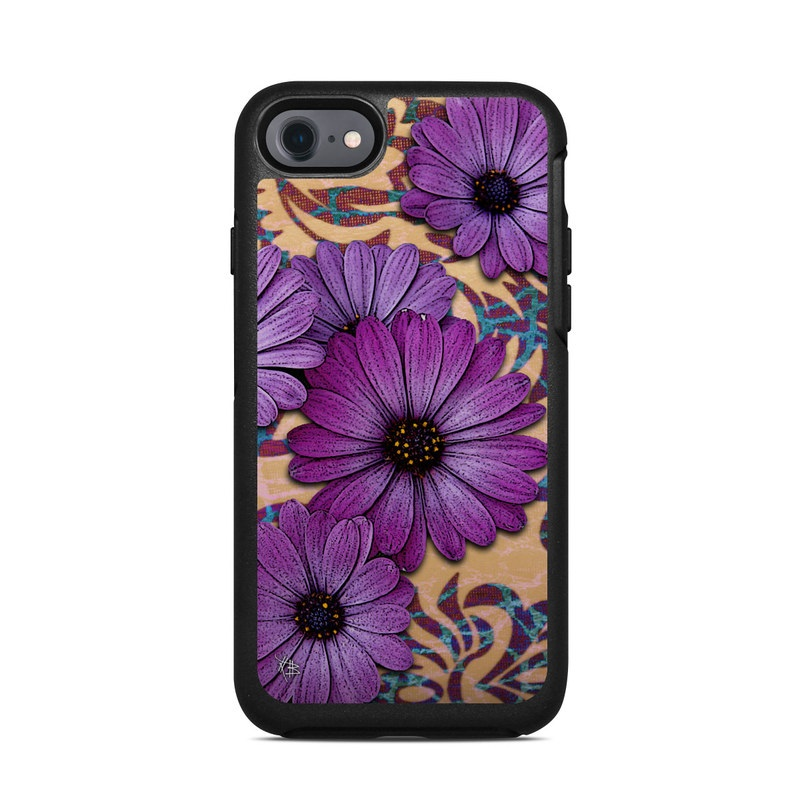 OtterBox Symmetry iPhone 8 Case Skin design of Purple, Flower, Violet, Petal, Plant, african daisy, Floral design, Wildflower, Pattern, Textile with purple, black, gray, blue, green, red colors
