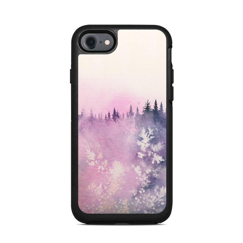 OtterBox Symmetry iPhone 8 Case Skin design of Watercolor paint, Sky, Atmospheric phenomenon, Tree, Atmosphere, Cloud, Landscape, Forest, Painting, Illustration with white, yellow, pink, purple, blue, black colors